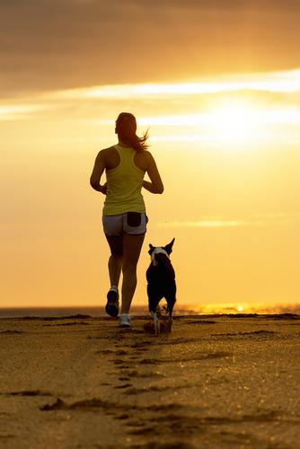 jogging femeie care aleargă cu un câine