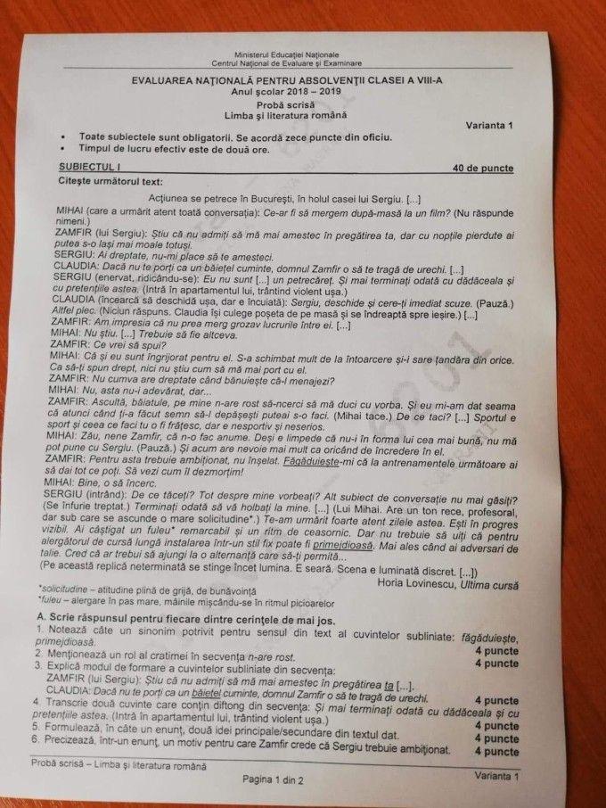 Subiectul 1 de la Limba română
