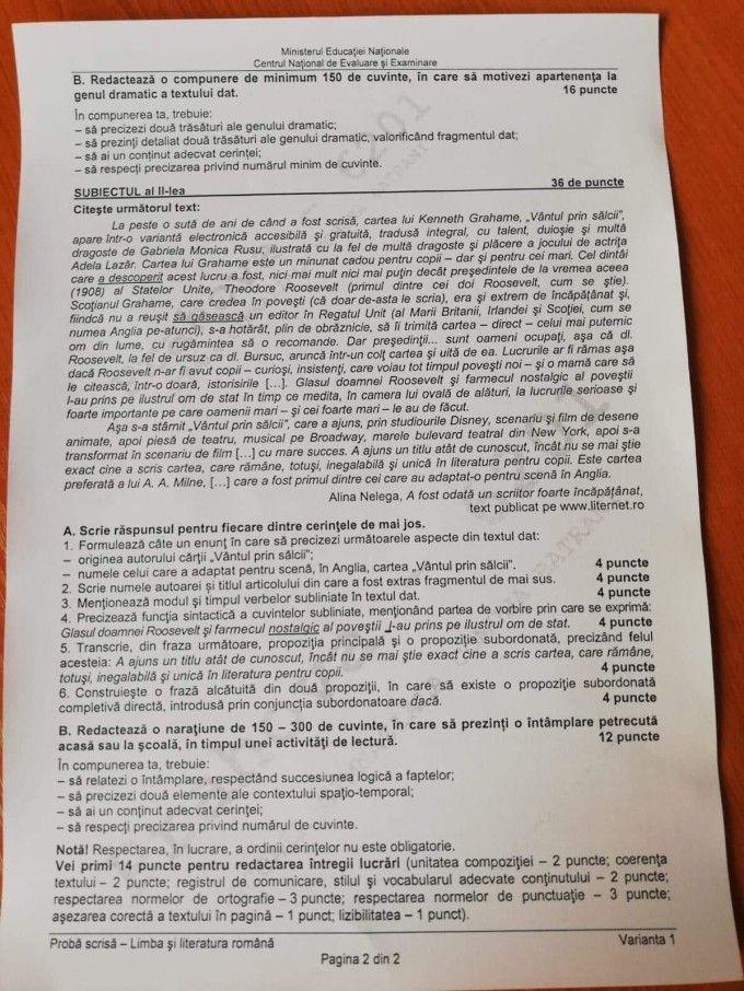 Subiectele de la Limba română